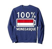 Monaco Flag T Shirt 100 Monegasque Battery Power Tee Sweatshirt Navy