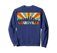 Louisville T Shirt City Skyline Retro 70s Souvenir Shirt Sweatshirt Navy