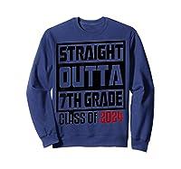 Straight Outta 7th Grade Class Of 2024 Graduation Shirts Sweatshirt Navy