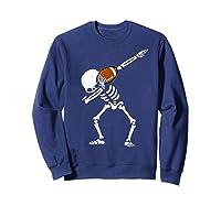 Halloween Dabbing Skeleton Football Dab Soccer Ball Shirts Sweatshirt Navy