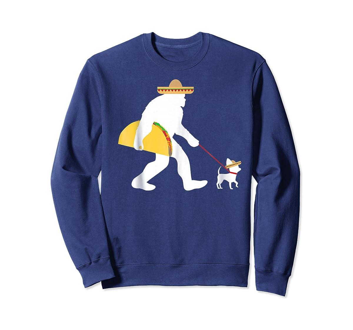 Bigfoot Taco Sombrero Chihuahua Dog Cinco de Mayo T-shirt-Sweatshirt-Navy