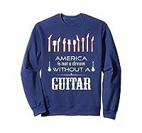 Patriot Guitarist T Shirt America Flag Guitar Sweatshirt Navy