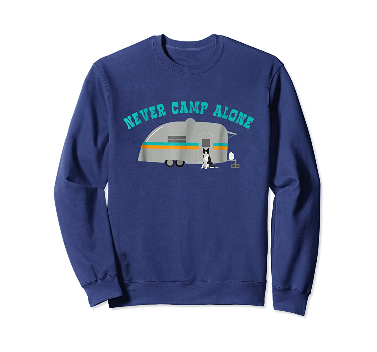 Border Collie Dog RV Shirt Funny Camping Travel Trailer-Sweatshirt-Navy