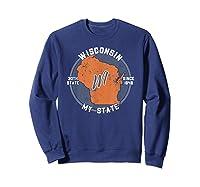 Wisconsin State Tourist Gift Shirts Sweatshirt Navy