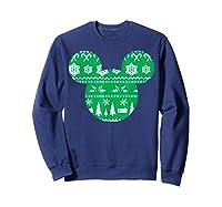 Disney Mickey Christmas Snowflakes T Shirt Sweatshirt Navy