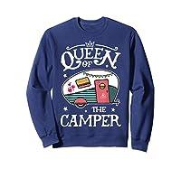 Queen Of The Camper Outdoor Camping Camper Girls Shirts Sweatshirt Navy