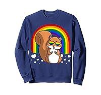 Squirrel Gay Pride Rainbow Q Cute Gift Shirts Sweatshirt Navy