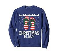 Christmas In July Santa Flip Flop Summer Xmas Gift Shirts Sweatshirt Navy