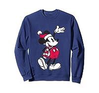 Disney Hello Holiday Mickey T Shirt Sweatshirt Navy