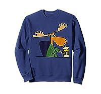 Smiletodaytees Funny Moose Drinking Mug Of Beer T-shirt Sweatshirt Navy