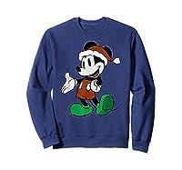 Disney Mickey Mouse Santa T Shirt Sweatshirt Navy