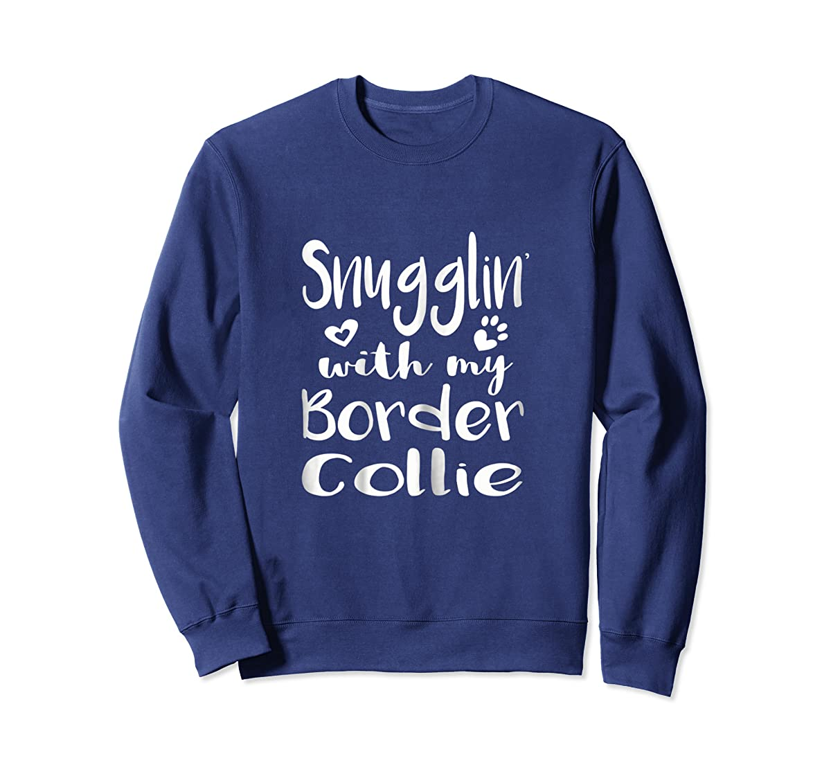 Snuggling with my Border Collie Shirt - Dog Mom pajamas-Sweatshirt-Navy
