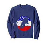 Space Science Retro Astronaut American Flag T-shirt Sweatshirt Navy