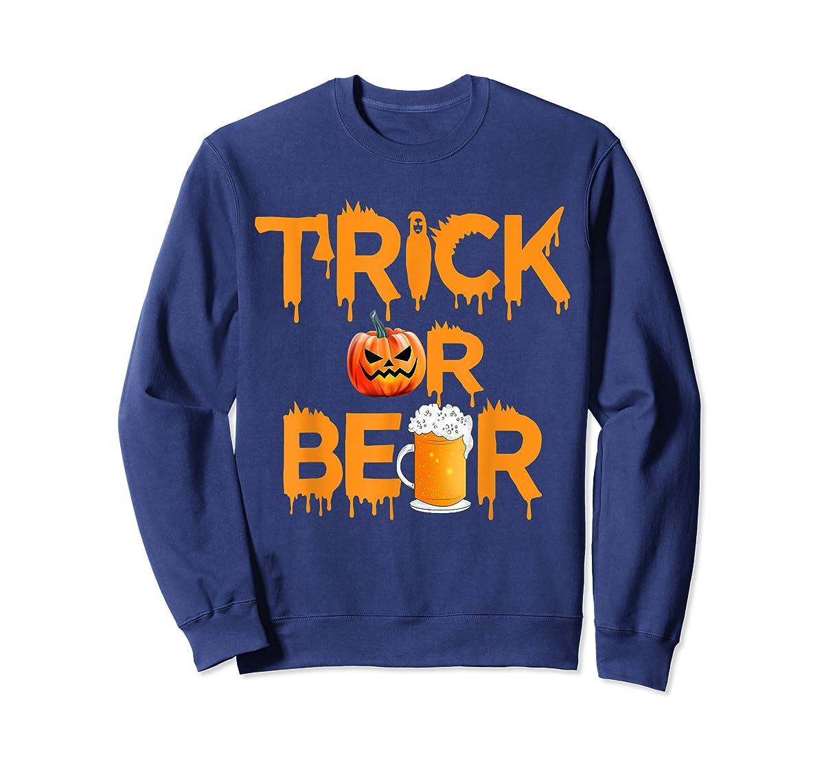 Halloween Costume Trick or Beer Drinking T Shirt Pumpkin Men T-Shirt-Sweatshirt-Navy