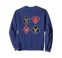 Playing Cards Emoji Spades Clubs Diamonds Hearts Shirt Sweatshirt Navy