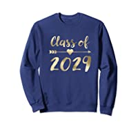 Class Of 2029 Grow With Me First Day Of School Gold Shirts Sweatshirt Navy