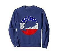 Bass Fish Retro Style Fishing American Flag Shirts Sweatshirt Navy