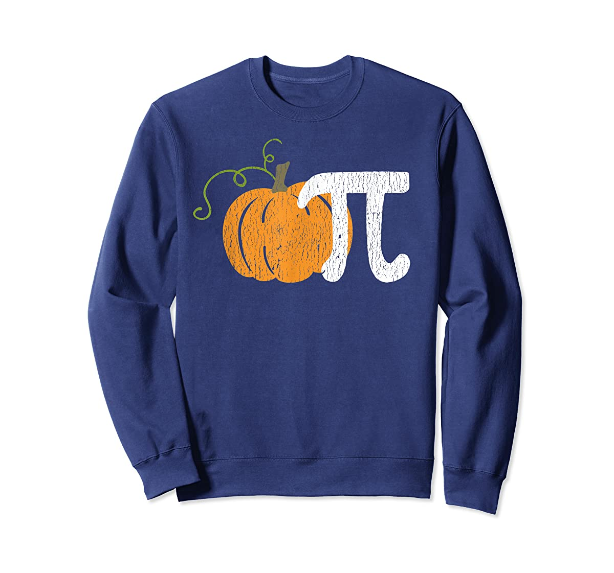Funny Pumpkin Pie Math Teacher Halloween Pi Humor T-Shirt-Sweatshirt-Navy