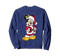 Disney Santa Mickey Mouse Holiday T-shirt Sweatshirt Navy