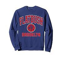 Flatbush Varsity Style Nyc Red Print T Shirt Sweatshirt Navy