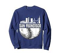 San Francisco Skyline City Baseball T Shirt Souvenir Skyline Sweatshirt Navy