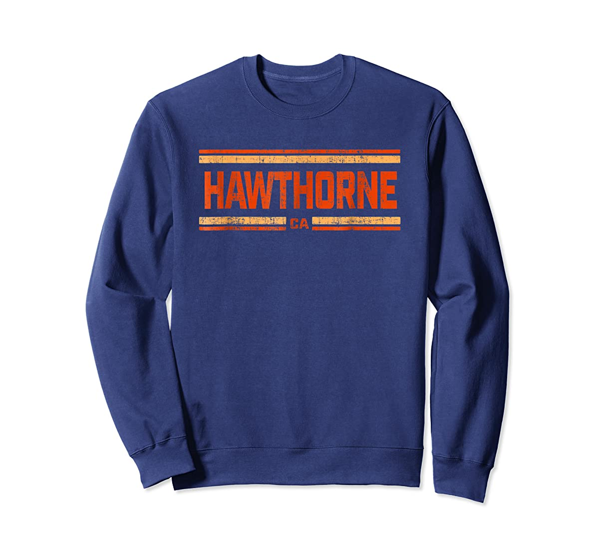 Retro Vintage Hawthorne CA Distressed T-Shirt-Sweatshirt-Navy