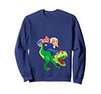 George Washington Riding T Rex Dinosaur 4th Of July Trex Shirts Sweatshirt Navy