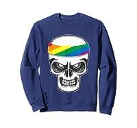 Funny Lbgt Gay Pride Rainbow Flag Skull Cool Art Gifts Shirts Sweatshirt Navy