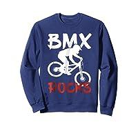 Bmx Riding Rocks T Shirt Cool Dirt Bike Race Stunt Gift Tees Sweatshirt Navy