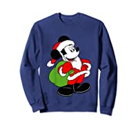 Disney Santa Mickey Mouse T Shirt Sweatshirt Navy