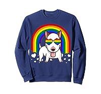 Bull Terrier Dog Gay Pride Rainbow Q Cute Gift Shirts Sweatshirt Navy