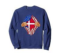 Danish Blood Inside Me T-shirt | Denmark Flag Gift Sweatshirt Navy