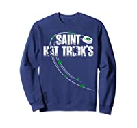 St Patricks Day Hockey T Shirt Saint Hat Trick S Day Funny Sweatshirt Navy