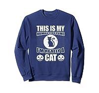 Halloween Cat Costume, This Is My Human Costume Retro Shirts Sweatshirt Navy