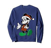 Disney Christmas Mickey Mouse T Shirt Sweatshirt Navy