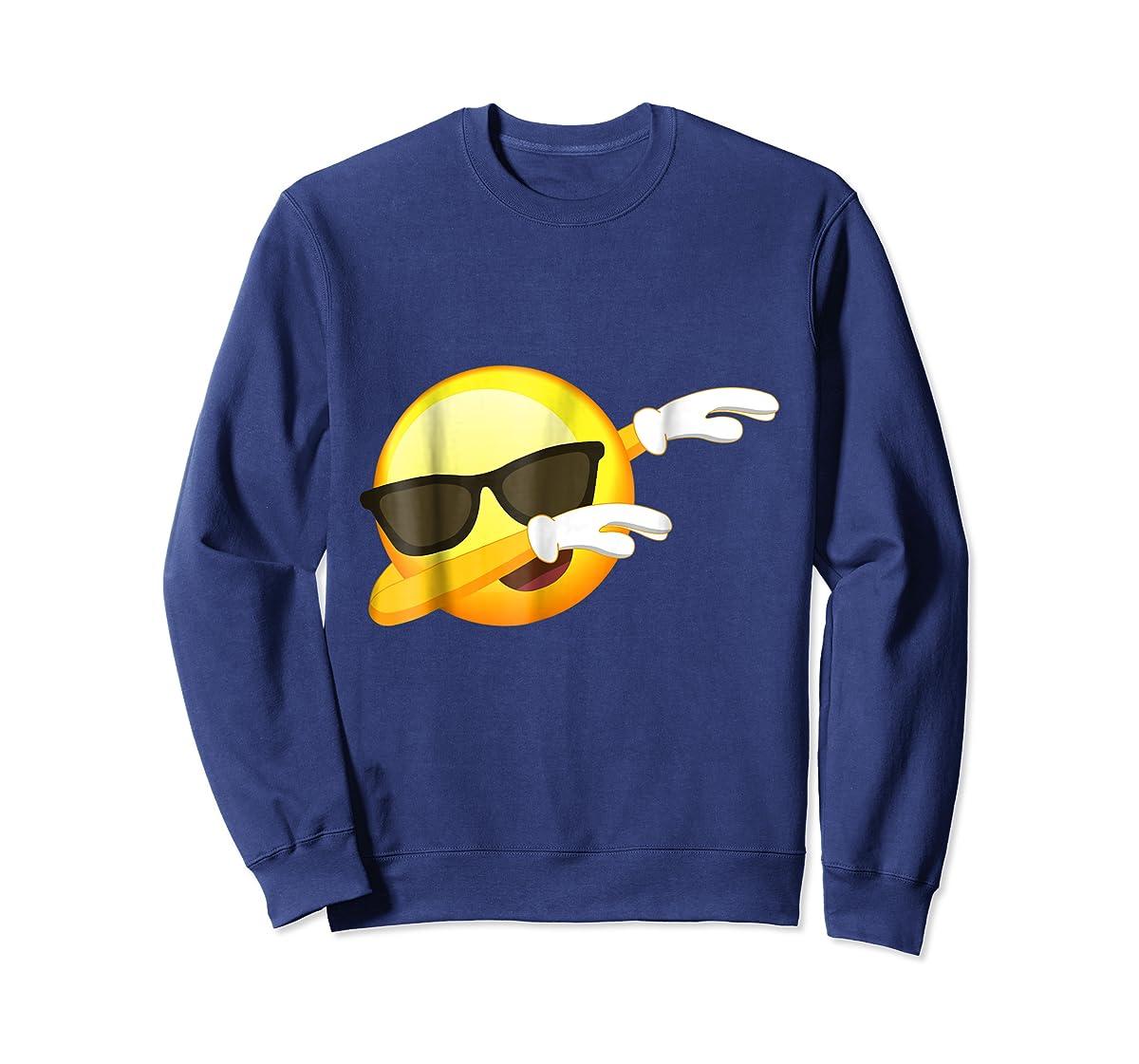 Funny Dabbing Emoji Shirt - Cool Emoji Dab T-Shirt-Sweatshirt-Navy