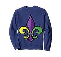Fleur De Lis Mardi Gras Cute Fat Tuesday Funny Gift Shirts Sweatshirt Navy