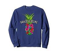 Banzai Pipeline Tropical Pineapple Flower Vacation T-shirt Sweatshirt Navy