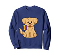 Pride Golden Retriever Dog Gay Lesbian Rainbow Flag Shirts Sweatshirt Navy