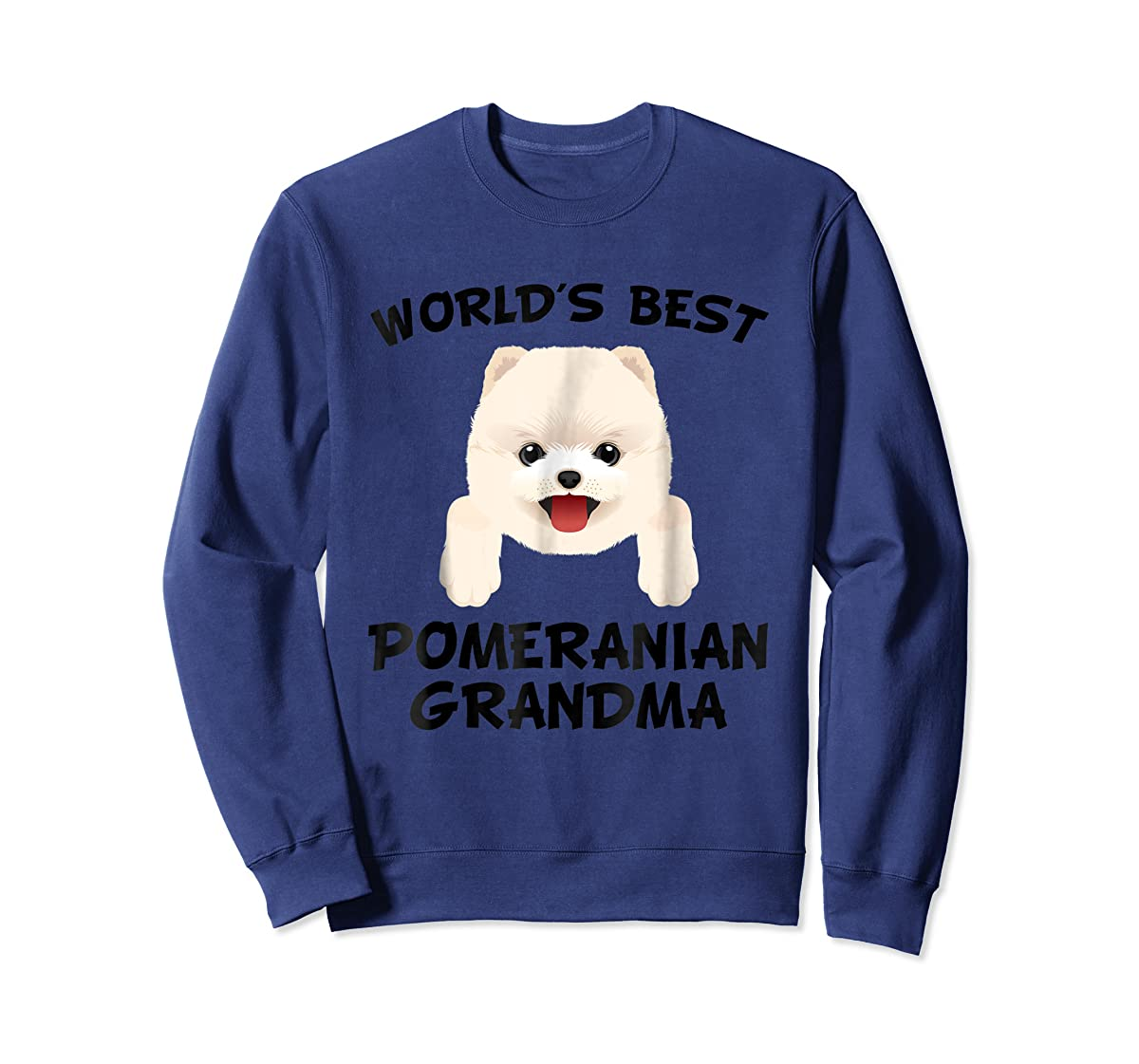 World's Best Pomeranian Grandma Dog Granddog T-Shirt-Sweatshirt-Navy