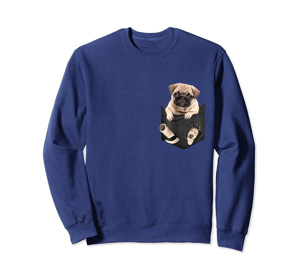 Dog in Your Pocket santa hat pug lover gift shirt-Sweatshirt-Navy
