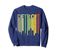 Retro Detroit Vintage Detroit Skyline Shirts Sweatshirt Navy