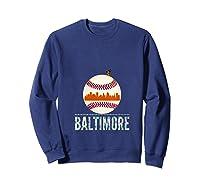 Baltimore Oriole Baseball Hometown Skyline Design Shirts Sweatshirt Navy