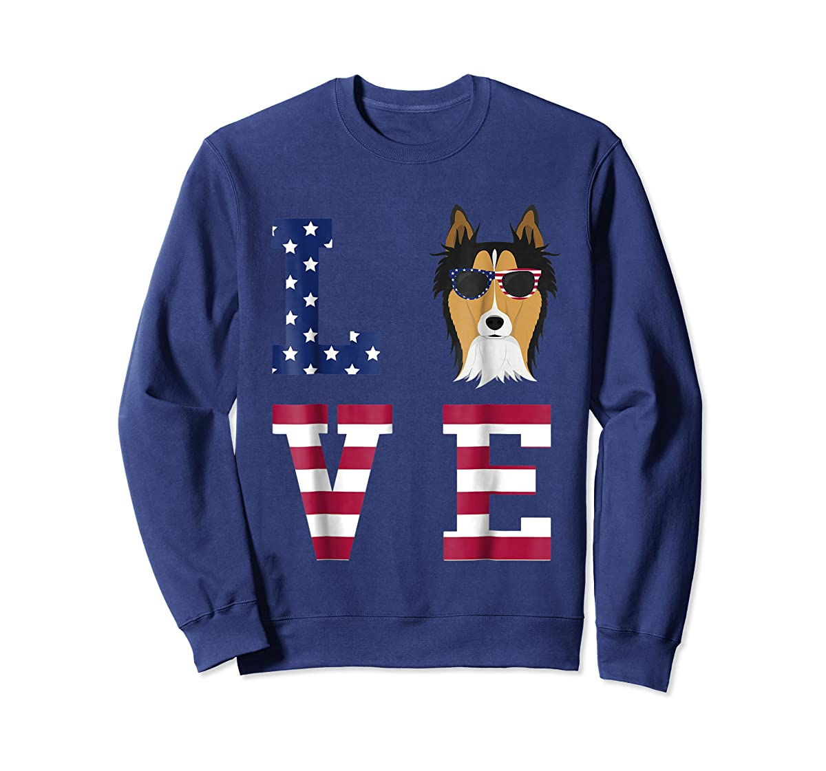 Collie Dog - 4th Of July T-Shirt-Sweatshirt-Navy