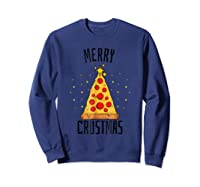 Merry Crustmas Pizza Pizza Lover Christmas Tree Shirts Sweatshirt Navy