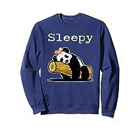 Sleepy Panda Shirt For Girls Cute Panda Flowers Lazy Relaxed Sweatshirt Navy