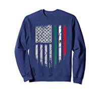 American Raised Mexican Roots Mexican Flag Gift Shirts Sweatshirt Navy