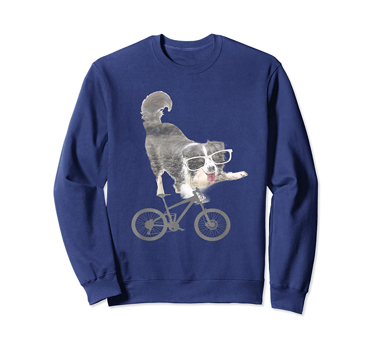 Border collie on a Bicycle T-shirt-Sweatshirt-Navy