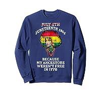 Ancestors Black African American Flag T Shirt Sweatshirt Navy
