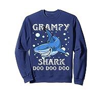 Grampy Shark Shirt Fathers Day Gift T-shirt Sweatshirt Navy